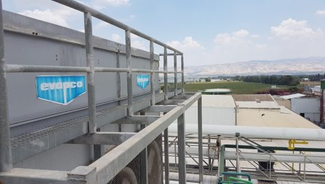 Evaporative condensation project for condensing ammonia for a food plant in the North of Israel
